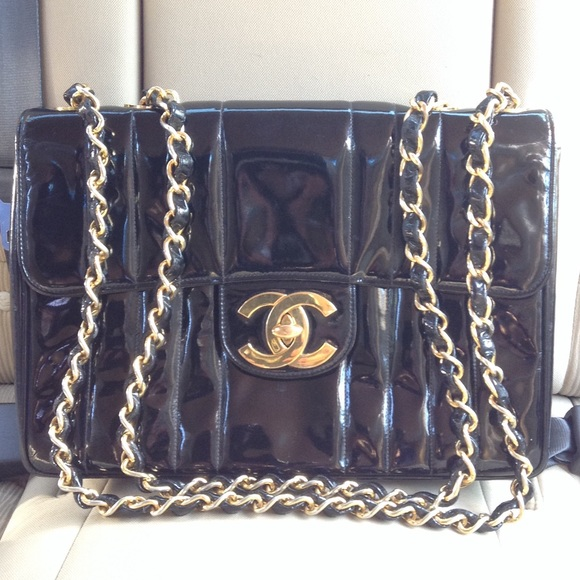 0790a4393f4cb CHANEL Handbags - Authentic Chanel Jumbo XL Patent Vertical Flap bag